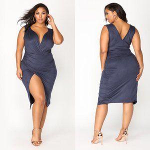 NWT Fashion Nova navy faux suede Nature Made dress